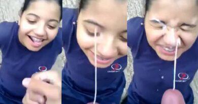 Amateur Teen Girl blowjob first experience - cum on face
